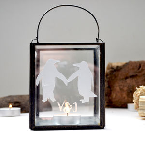 Personalised Penguins In Love Candle Holder