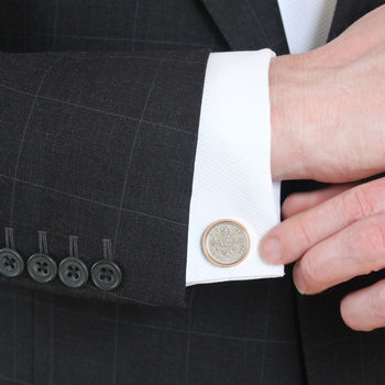 Personalised Rose Gold Sixpence Cufflinks 1928 To 1967