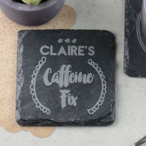 Caffeine Fix Personalised Coffee Slate Coaster
