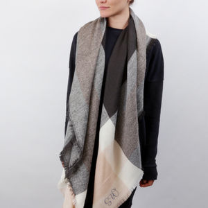 Personalised Check Blanket Scarf - best gifts for her