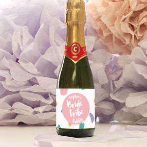 Personalised Bride Tribe Mini Bubbly Labels - hen & stag party invitations