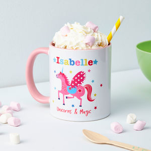 Girls Personalised Unicorn Mug - mugs