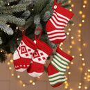 Set Of Four Knit Christmas Tree Decorations
