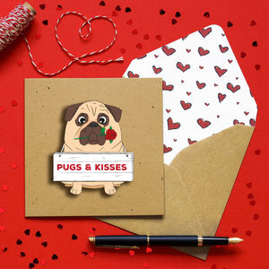 3D Pugs And Kisses Cute Anniversary Personalised Card - love & romance cards