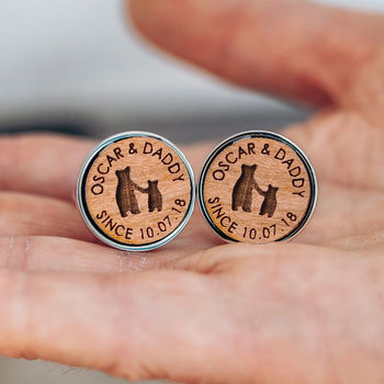 Daddy and Child Bear 'Since...' Personalised Cufflinks