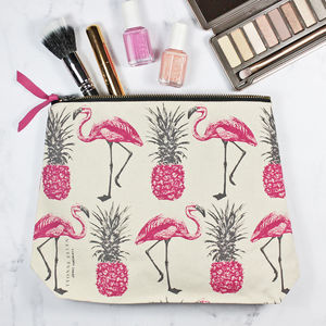 'Flamingos And Pineapples' Make Up Bag - make-up bags