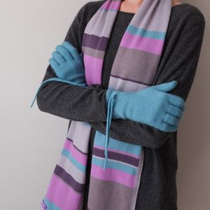 Cashmere Stripe Scarf And Glove Set - scarves