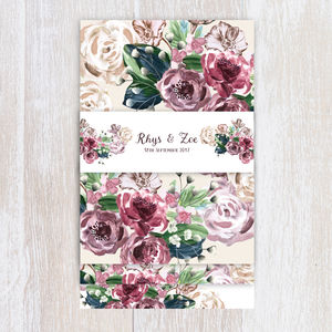 Mauve Bouquet Floral Wedding Stationery - invitations