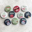 Set Of 10 Fun Christmas Pin Badges