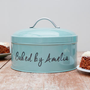 Personalised Teal Cake Tin - gifts for bakers