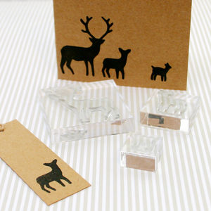 Stag Family Clear Rubber Stamps