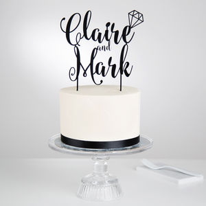 Personalised Couples Diamond Cake Topper - cake toppers & decorations