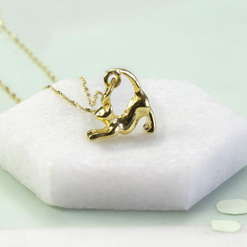 Gold Plated Sterling Silver Cat Necklace