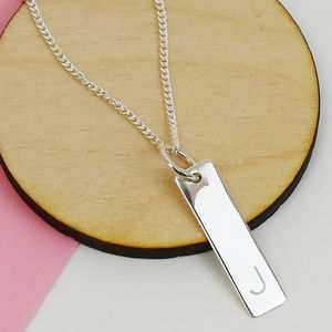 Personalised Initial Bar Sterling Silver Necklace - new in jewellery