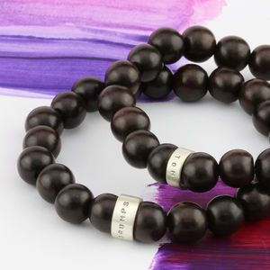 Personalised Wooden Bead Mens Bracelet