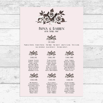 Blush Pink Floral Table Plan
