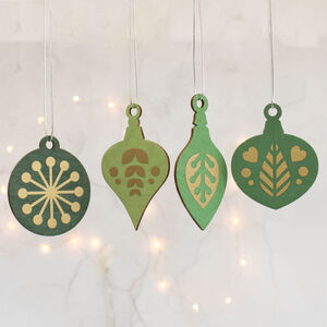 Christmas Tree Decoration Set, Green With Gold