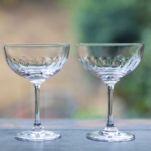 Pair Of Lens Champagne Saucers - gifts for her