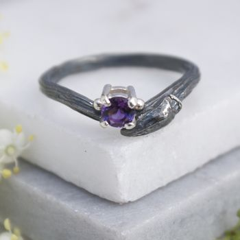 Black Willow and Amethyst Twig Ring