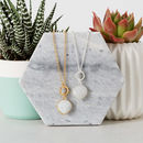 Gold Circle Moonstone Necklace