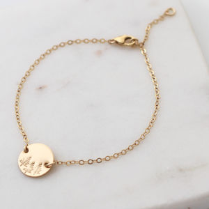 Botanical Forest Disc Bracelet In Gold