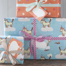 unicorn and orange spotty wrap