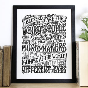 'Blessed Are The Weird' Typography Screen Print - posters & prints
