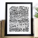 'Blessed Are The Weird' Typography Screen Print