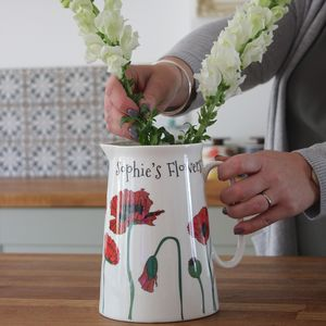 Personalised Poppies Flower Jug - vases