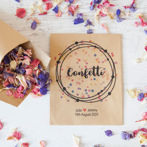 10 Personalised Colourful Confetti Packets - confetti, petals & sparklers