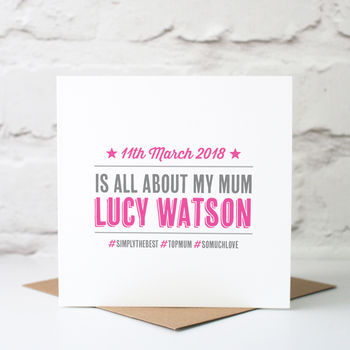 Personalised Hashtag Mothers Day Card