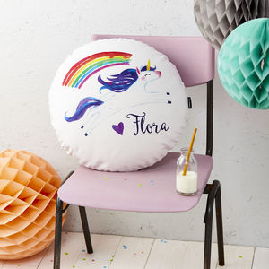 Personalised Unicorn Round Cushion - children's room