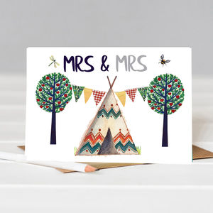 Mrs And Mrs Tee Pee Wedding Card