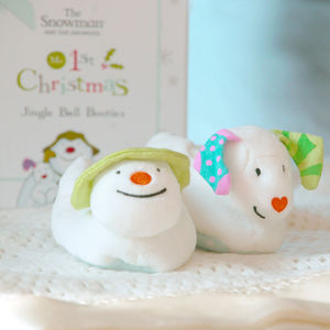 Snowman And Snowdog Booties - children's christmas clothing
