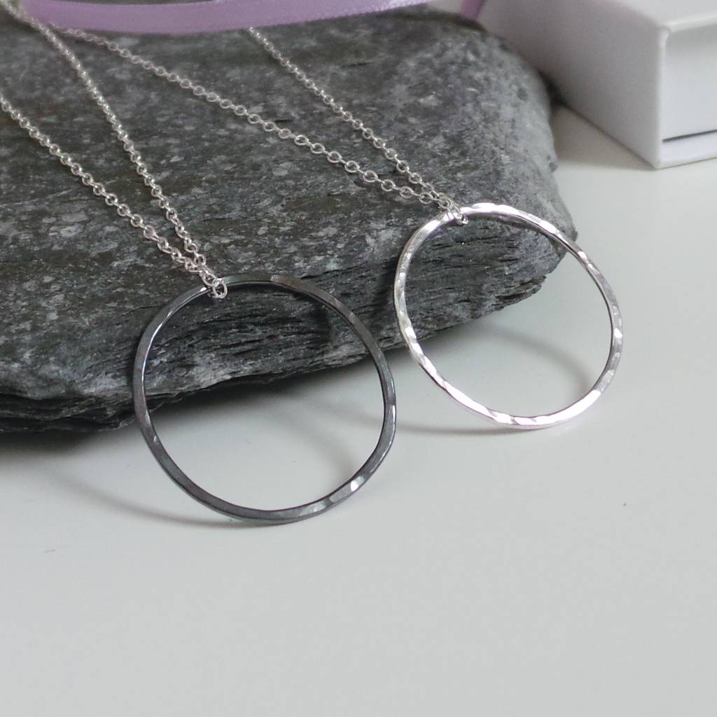 Circle Hammered Sterling Silver Necklace