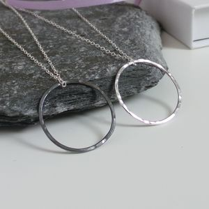 Circle Hammered Sterling Silver Necklace - new in christmas