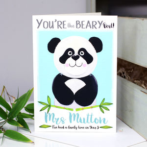 Personalised Panda Thank You Teacher Card
