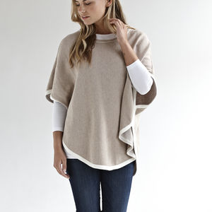 Half Price Cotton Cashmere Poncho With Edge Stripe