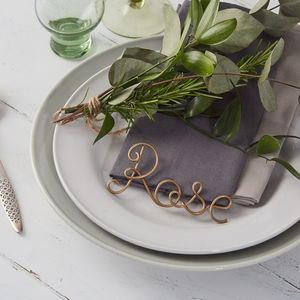 Deluxe Wire Name Settings And Favours - unusual favours