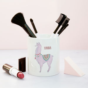 No Drama Karma Llama Personalised Make Up Brush Pot - llama gifts