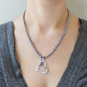 Grey Pearl And Sterling Silver Heart Necklace