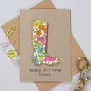 Personalised Liberty Welly Birthday Card