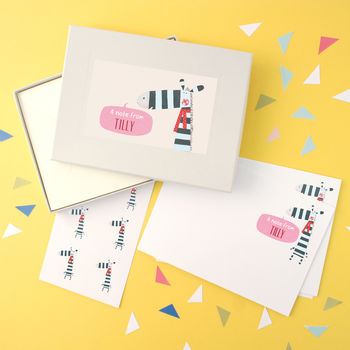 Personalised Girl's Notecards Writing Set