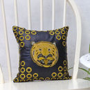 Embroidered Metallic Tiger Head Leather Cushion
