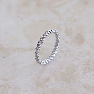 Silver Midi Ring With Twist Detail