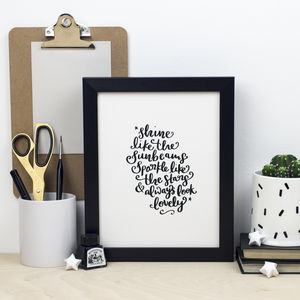 'Shine' Framed Hand Lettered Modern Calligraphy Print
