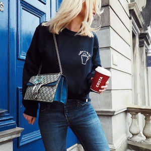'Coffee Is My Life' Illustrated Pocket Sweatshirt