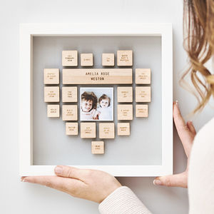 Personalised New Baby Heart Framed Print - christening gifts