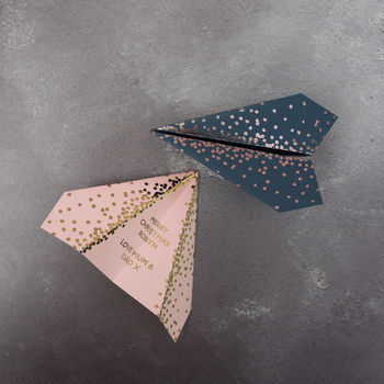 Foiled Paper Plane, Personalised Christmas Card, Spots