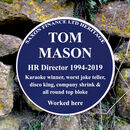 Personalised Retirement Blue Plaque